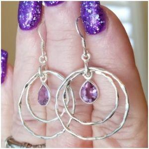 2cttw Color Changing Alexandrite hoop Earrings